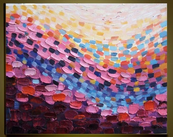 """Abstract Oil Painting Original Impasto Palette Knife fine thick textured art on Canvas Ready to Hang by Qujun 16""""x20"""""""