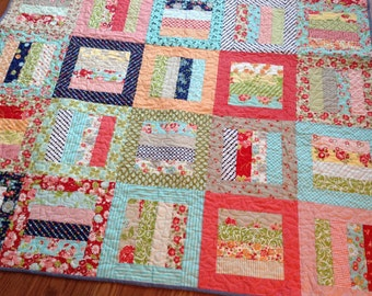 Lap Quilt in Bonnie and Camille fabrics -- Red Pink Aqua orange green navy blue yellow -- pattern also available