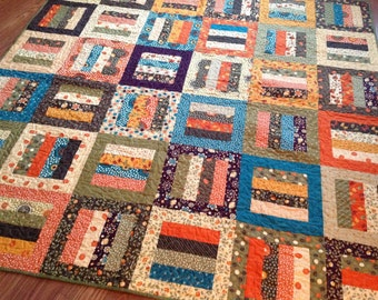 Lap Quilt in Fall Fabrics by Sandy Gervais -- Essence, Grand Finale -- orange, teal, brown, purple, green