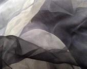 "Black to grey to white shade Extra large  Silk Gauze  Scarf 40""X70""(Perfect  for Nuno Felting)"
