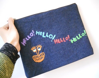 HELLO! Embroidered Clutch