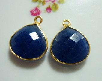 2 pcs, 14x17mm, Blue Sapphire Gold Vermeil Sterling Silver Pendant, Handmade blue sapphire Bezel Rim Pendant, Dblue