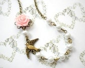 Little Girl Jewelry Flower Girl Necklace Pearl and Flower Necklace Gift For Children Pink Rose Necklace Romantic Wedding Gift Bird Jewelry