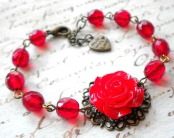 Red Bracelet Red Rose Jewelry Flower Bracelet Red Jewelry Romantic Jewelry Red Rose Bracelet Red Glass Bracelet Feminine Jewelry