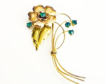 Harry Iskin Brooch, Emerald Green Rhinestone, Gold Filled, Flower Brooch, Vintage Brooch, Vintage Jewelry