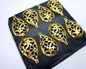 Gold Filigree Teardrops -- Gold Teardrop Supply -- Teardrop Shape Supplies -- Jewelry Supplies & Destash