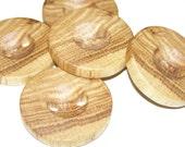 """5 Handmade oak wood buttons , accessories (1,57"""" diameter x 0,28"""" thick)"""