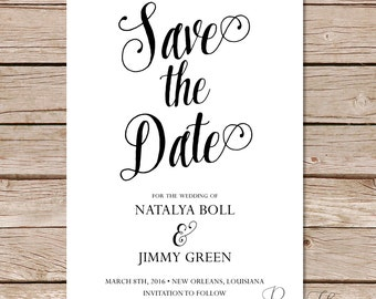 modern calligraphy save the date card / digital printable save the date card