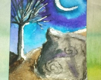 The Wishing Stone; ACEO orignal painting