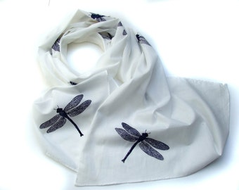 White Cotton Scarf  with small Dragonflies in Navy Blue