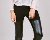Thigh hi leggings - vegan faux leather black shiny spandex S - ROGUE:MINX