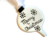 Retro Christmas Ornament - Fused Glass - Hand Painted / Sun Catcher- Black and White