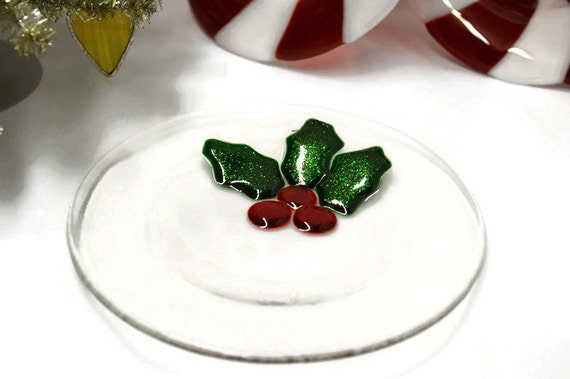 Holly Dessert Plate, Fused Glass, Cookies for Santa, Salad Plate