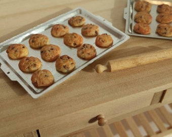 Dollhouse chocolate chip cookies - 1:12 scale miniature food