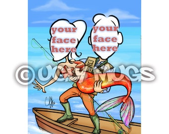 Custom Mermaid Fisherman Wedding Couple Save-The-Date Caricature from Photos
