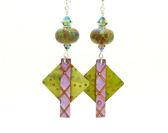 Multicolored Mixed Metal Earrings, Metalwork Earrings, Copper Earrings, Lampwork Earrings, Dangle Earrings, Boho Earrings, Glass and Metal
