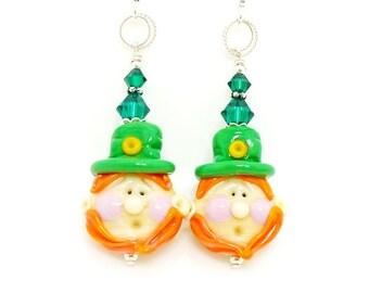 Leprechaun Earrings, St Patricks Day Jewelry, Lampwork Earrings, Glass Earrings, Green Earrings, Luck of the Irish, St Patricks Day Earrings