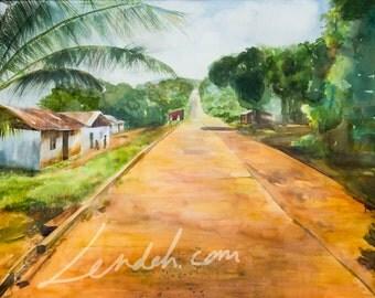 ORIGINAL Watercolor landscape painting of Uptown Robertsport, Cape Mount County, Liberia West Africa