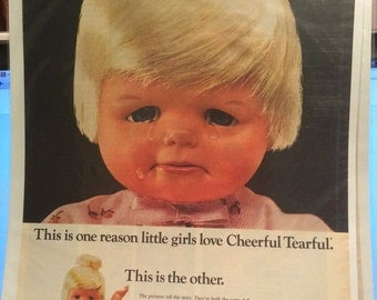 Matel inc toymakers cheerful tearful doll ad circa 1966.