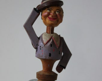 Vintage Bottle Stopper, Man with a Hat, Kitch, Retro, Mad Men time Barware