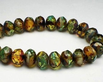 Woodsy Aqua, Green, Amber and Ivory Picasso Czech Glass Beads 6 x 8mm Faceted Rondelles 10 Pcs.RON8-098