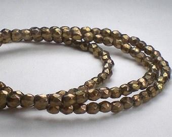 100 Bronze Czech Glass Picasso Beads Bronze Fire Polished Beads 3mm/009