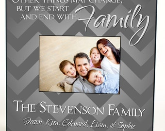 """Personalized Family Picture Frame for 5""""x7"""" Photo Frame Overall Size 12""""x12"""" Other Things May Change, But We Start And End With Family"""