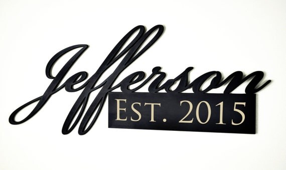 Personalized Family Name Word Art Cutout Sign with Established Date Engraved