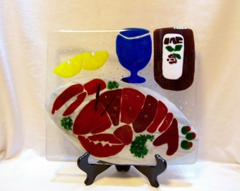 Lobster, Fused Glass Lobster, Home Decor, Art Glass, Kitchen Sparkler