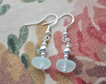 Genuine Sea Glass Beach Earrings Beautiful Seafoam Green Sterling Silver 6452