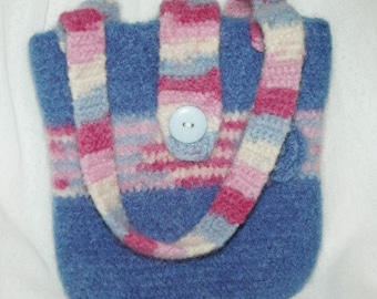 Handmade  Felted Tote Purse Wool Blend Blue and Pink