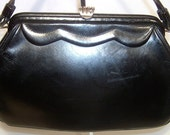 1950s 1960s jet black leather handbag purse ~ scalloped trim ~ small and pretty