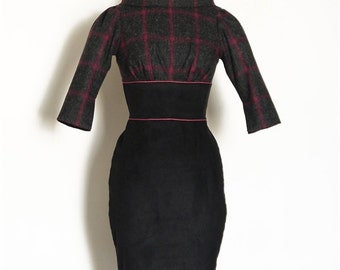 Size 10 (US 6 -8) - Magenta & Black Wool Fold Neck Collar with Black Corduroy Pencil Dress -  Made by Dig For Victory