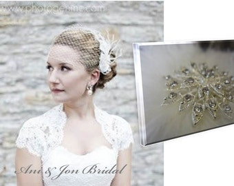 "Free crystal Fascinator with 9"" Birdcage veil- ivory or white"