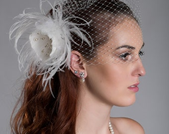 "2 items- Detachable birdcage veil and feather fascinator 12"" or 9""  (ivory or white)"
