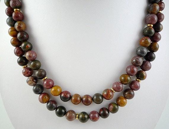 Long Jasper Necklace Gemstone Necklace Red By Blueirisjewelry