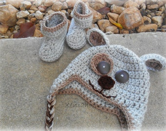 Neutral Tan and Brown Baby Doggy Hat and Booties Set 3 - 6 months READY TO SHIP