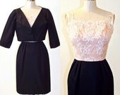 SALE 1960s Cocktail Dress, Silk and Lace 60s Dress and Cropped Bolero Jacket, Vintage Formal Dress Suit by Pavanne Originals, XS