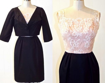 1960s Cocktail Dress, 60s Lace Dress, Formal Dress and Cropped Bolero Jacket, Pavanne Originals, XS