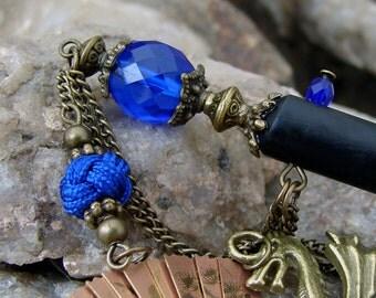 Cobalt Blue Dragon Hair Stick Brass Folding Fan Oriental Hairstick Antique Bronze Geisha Hair Sticks Kanzashi Hair Pins Chopsticks - Livia