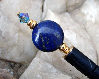Lapis Lazuli Hair Stick Gemstone Swarovski Crystal Japanese Geisha Hairstick Kanzashi Hair Pins Hair Chopsticks Hair Pic Haarstab - Faith