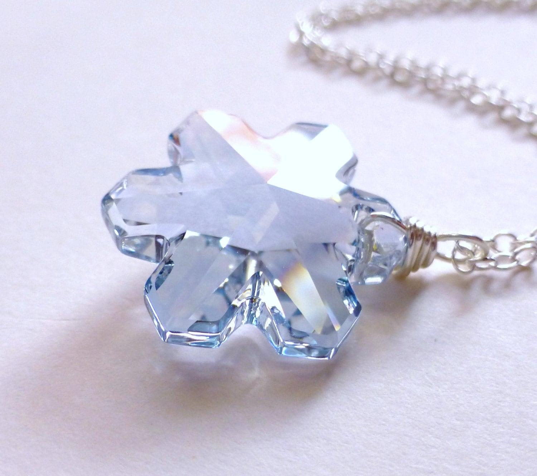 snowflake necklace blue swarovski necklace by