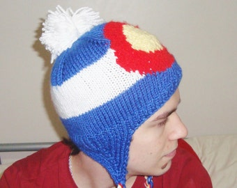 Knit Colorado Flag Hat - Hand knit winter with earflap Colorado hat handknit with ear flap hat - Colorado gifts
