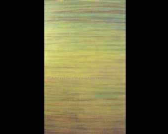 Signed Original Modern Abstract Art Painting by Michael Joseph -  Yellow Green Landscape 48 x 30 inch on unstretched canvas