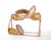 Agate Geode Business Card Holder Brown Office Amber Stained Glass Geode Handmade
