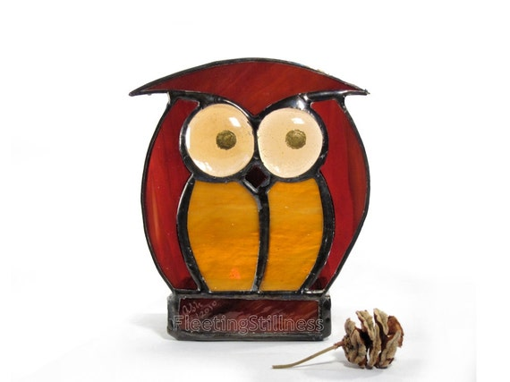 Candle Holder Tea Light Stained Glass Votive Owl Amber Chocolate Votive Handmade OOAK