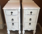 Antique Shabby Night Tables Ornate White Nightstands