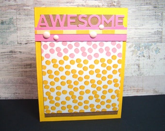 Awesome Congratulations Pink and Yellow Dots Card