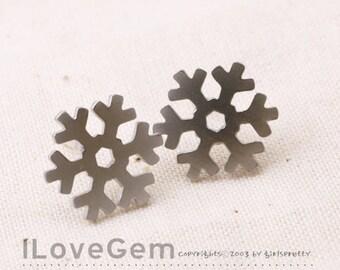 NP-1632 Matt Rhodium Plated, Snowflake, Earrings, 925 sterling silver post, 2pcs