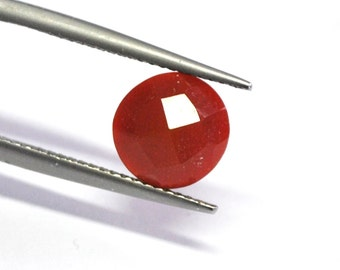 Carnelian Agate Round Faceted Cabochon - 8.6-8.8 x 4.4 mm - 2.2 ct - 150128-08